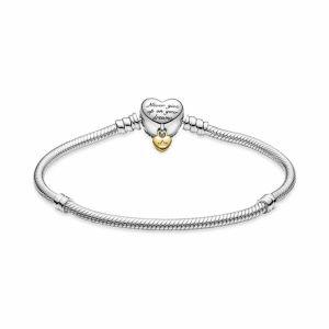 Pandora Disney Pandora Moments Heart Clasp Snake Chain Bracelet 569563C01-16 569563C01-17 569563C01-18  569563C01-19 569563C01-20 569563C01-21 569563C01-23
