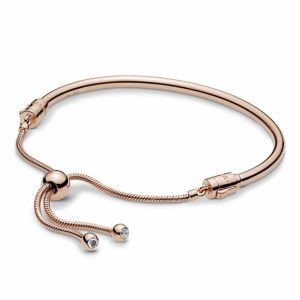 Pandora Moments Slider Rose Bangle-587953cz-17, 587953cz-19, 587953cz-21