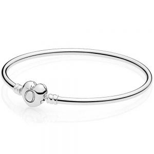 Pandora Moments Heart Clasp Bangle-596268-17, 596268-19, 596268-21