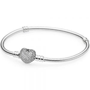 Pandora Moments Sparkling Heart Pavé Clasp Snake Chain Bracelet-590727cz-16, 17, 18, 19, 20, 21, 23