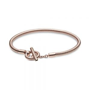 Pandora Rose Moments T-Bar Snake Chain Bracelet-589087C00-16,17,18,19,20,21,23
