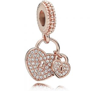 Pandora Rose Pavé Heart Padlocks Dangle Charm - 781807CZ