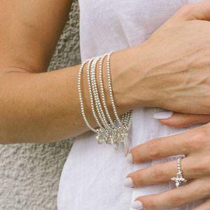 Annie Haak Santeenie Silver Charm Bracelet - Peach Daisy