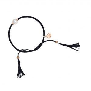 Jersey Pearl Tassel Bracelet, Black