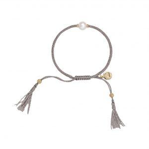 Jersey Pearl Tassel Bracelet, Grey