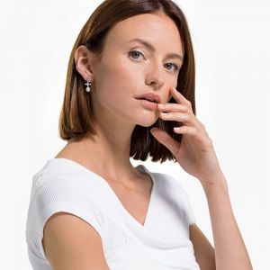 Swarovski Perfection Pierced Earrings - Pink - Rhodium-Plated