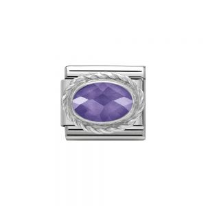 Nomination Classic Faceted Zirconia Charm - Sterling Silver Setting and Detail Purple