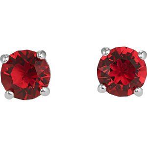 Swarovski Attract Stud Pierced Earrings, Red, Rhodium Plated