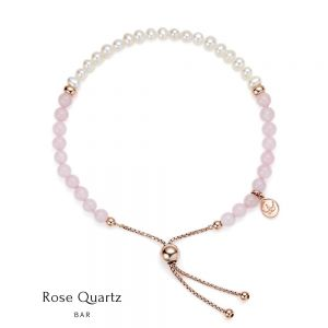 Jersey Pearl Sky Bracelet - Bar in Rose Quartz, Pearl and Rose Gold