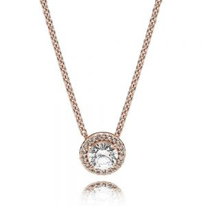 Pandora Rose Round Sparkle Halo Necklace - 386240CZ