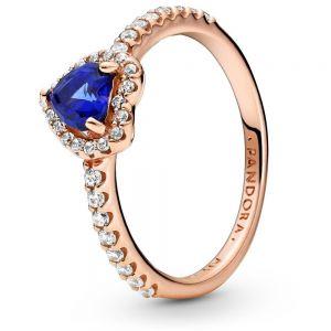 Pandora Rose Sparkling Blue Elevated Heart Ring - 188421C01