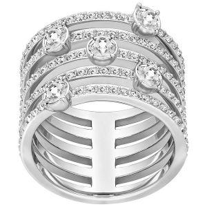 Swarovski Creativity Wide Ring, White, Rhodium Plating