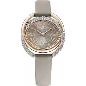 Swarovski Duo Watch, Leather Strap, Grey, Champagne gold tone PVD