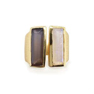 Sarah Alexander Park Lane Double Gemstone Bar Contemporary Ring