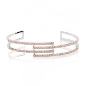 Sif Jakobs Rufina Bangle - 18k rose gold plated with white zirconia