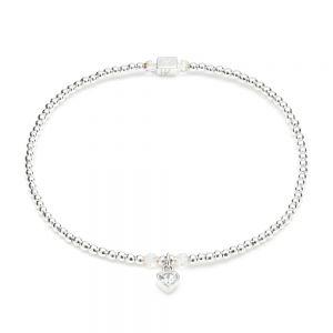 Annie Haak Blissful Swarovski Heart Crystal Silver Charm Bracelet