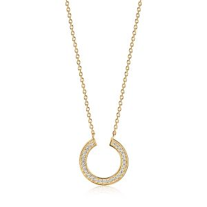 Sif Jakobs Valiano Circolo Necklace, gold with white zirconia