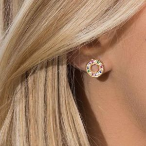 Sif Jakobs Earrings Valiano - 18k gold plated with multicoloured zirconia SJ-E1048-XCZ(YG)