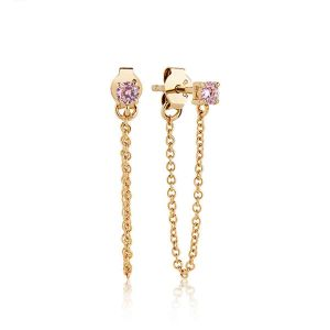 Sif Jakobs Princess Piccolo Lungo Earrings - Gold with Pink Zirconia