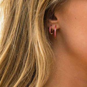 Sif Jakobs Ellera Grande Earrings, gold with red zirconia SJ-E2869-RED(YG)