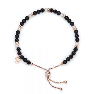 Jersey Pearl Sky Bracelet, Scatter Style in Black Agate