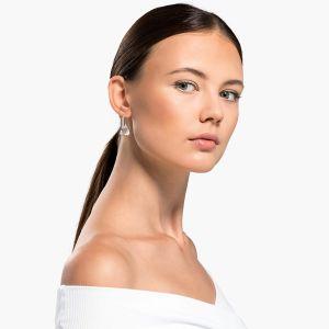 Swarovski Spirit Pierced Earrings - White - Rhodium-Plated