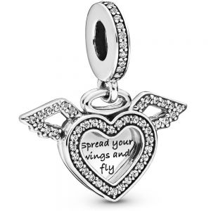 Heart and Angel Wings Dangle Charm - 798485C01