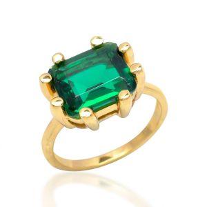 Shyla London Square Claw Ring - Emerald Green