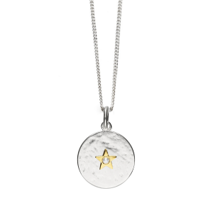 Sterling Silver and Zirconia Star Hammered Necklace