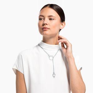 Swarovski Stone Chain Necklace - Rhodium Plated
