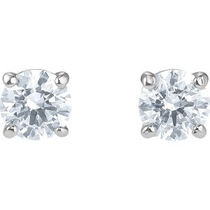 Attract Stud Pierced Earrings, White, Rhodium plated 5509937