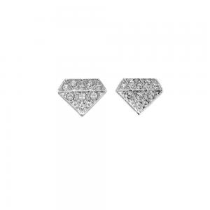 Swarovski Chaton Pierced Stud Earrings - Rhodium plating