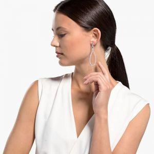 Swarovski Infinity Pierced Hoop Earrings - White - Rhodium Plated 5518878