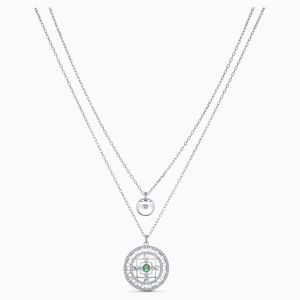 Swarovski Symbolic Mandala Necklace - White - Rhodium Plating