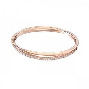Swarovski Twist Bangle - White with Rose Gold Plating 5620552
