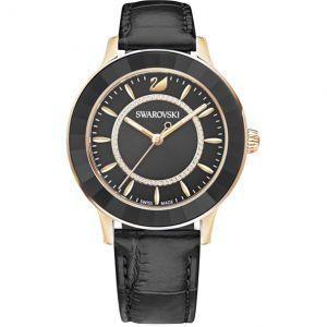 Swarovski Octea Lux Watch, Leather Strap, Black, Rose Gold Tone 5414410