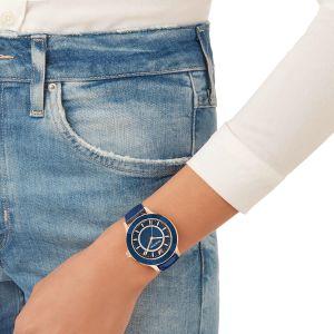 Swarovski Octea Lux Watch, Leather Strap, Blue, Rose Gold Tone