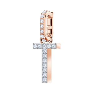 Swarovski Remix Collection Charm T, White, Rose Gold Plating 5437615