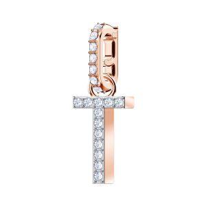 Swarovski Remix Collection Charm T, White, Rose Gold Plating