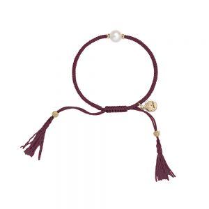 Jersey Pearl Tassel Bracelet - Grape with Gold Detail