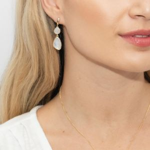 Sarah Alexander Tidal Rainbow Moonstone Double Drop Earrings
