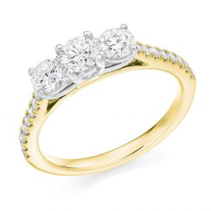 Round Brilliant Cut Diamond Band Trilogy Engagement Ring