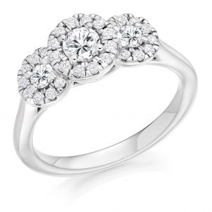 Round Brilliant Cut Trilogy Diamond Halo Engagement Ring