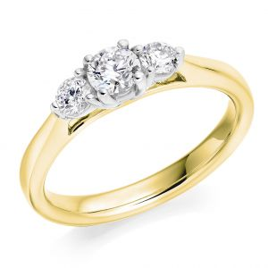 Round Brilliant Cut Classic Band Trilogy Engagement Ring