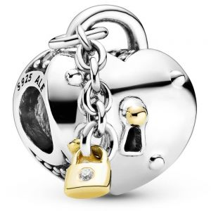 Pandora Two-Tone Heart and Lock Charm - 799160C01