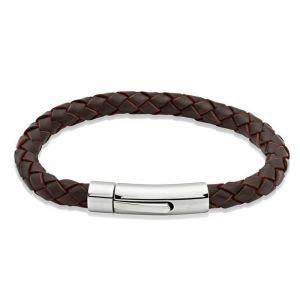 Unique & Co Mens Dark Brown Leather Bracelet, Stainless Steel Clasp / 21cm
