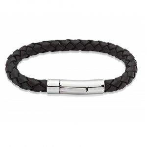 Unique & Co Men's Black Leather Bracelet with Stainless Steel Clasp