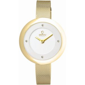 Obaku Ladies 'Lyng' Gold Mesh Strap Watch