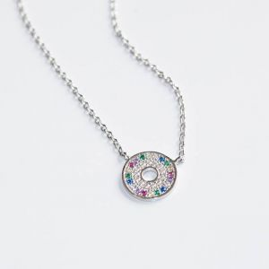 Sif Jakobs Valiano Necklace, silver with multicoloured zirconia