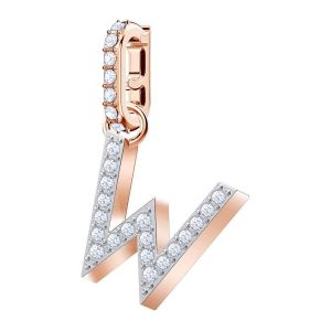 Swarovski Remix Collection Charm W, White, Rose Gold Plating